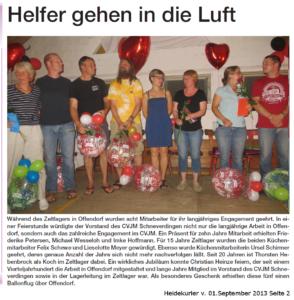 Artikel im Heidekurier vom 01.09.2013, Seite 2